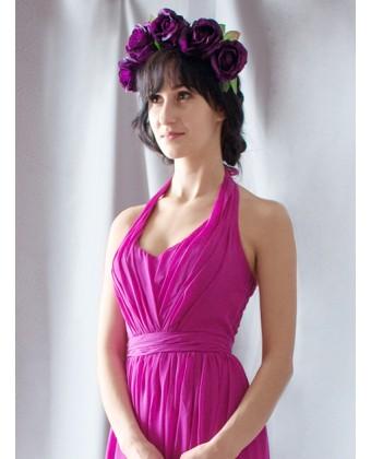 Длинное платье с драпированным лифом