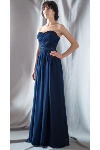 Синее платье с декорированным пояском