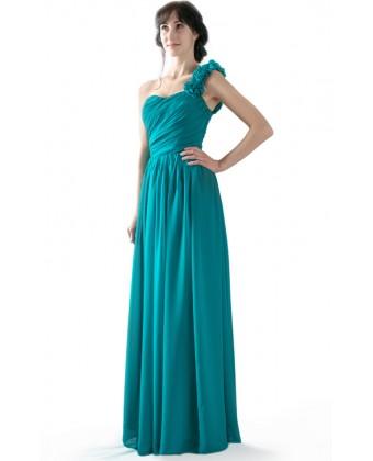 Вечернее платье с цветочной бретелью