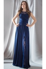 Платье темно-синее с разрезом