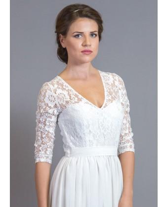 Платье в пол с кружевным верхом и рукавом