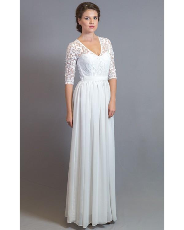 51b8e21787a Платье в пол с кружевным верхом и рукавом купить в интернет-магазине ...
