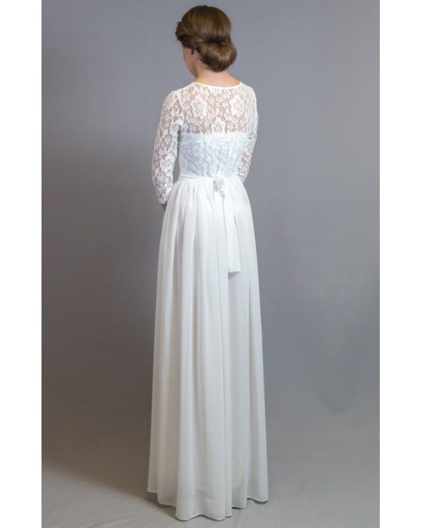 1aadecb9a28 Платье в пол с кружевным верхом и рукавом купить в интернет-магазине ...