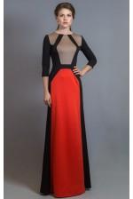 Трикотажное платье в пол с длинным рукавом