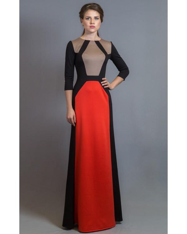 Красивое длинное вязаное платье