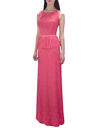 Длинное гипюровое платье с баской