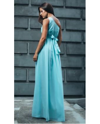 Ментоловое платье на одно плечо