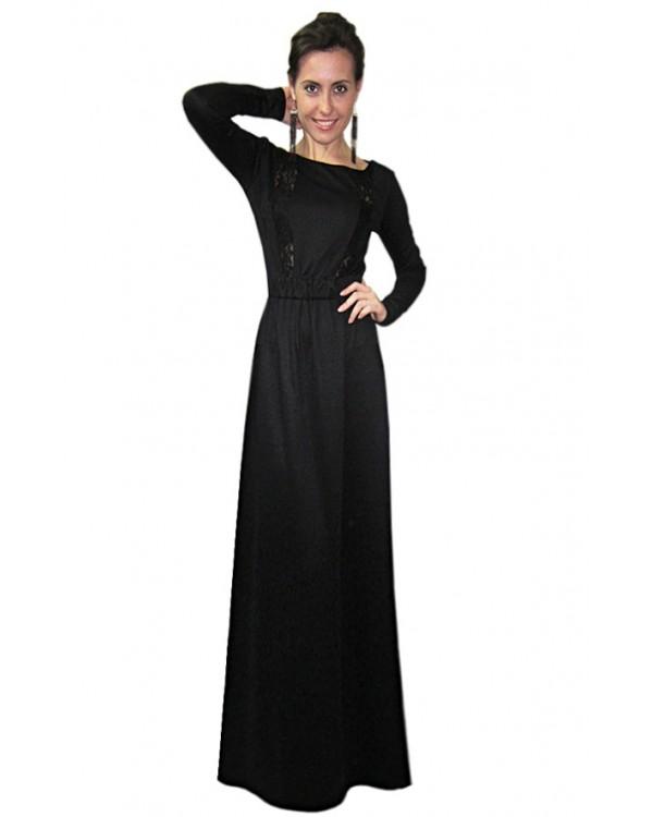 19d46fe0afe Длинное черное платье с рукавом купить в интернет-магазине Роял ...