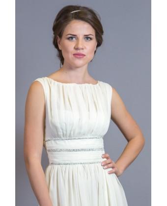 Длинное молочное платье с камнями по талии