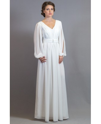 Белое вечернее платье, рукав с разрезом