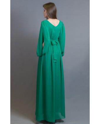 Зеленое вечернее платье, рукав с разрезом