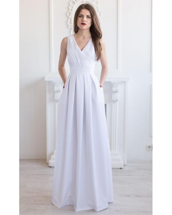 da55d98fb14 Длинное белое котоновое платье купить в интернет-магазине Роял-бутик ...