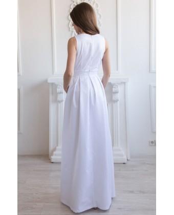 Длинное белое котоновое платье