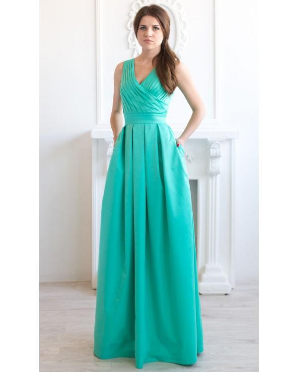 430848d9b99 Длинное котоновое платье мятного цвета купить в интернет-магазине ...