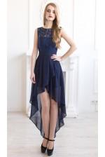 Платье с кружевом и асимметричной юбкой