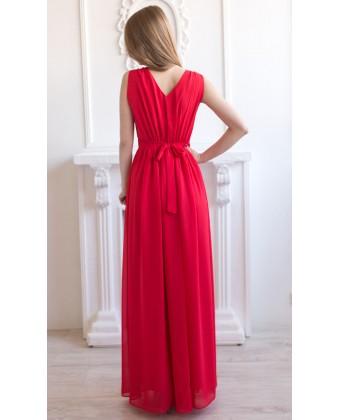 Платье красное на широких бретелях