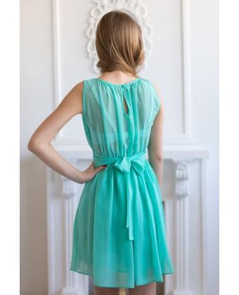Мятное коктейльное шифоновое платье