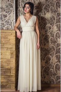Платье с V-вырезом и камушками по поясу