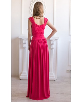 Платье в пол трикотажное коралловое