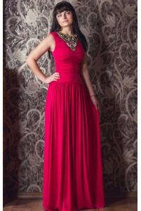 Платье длинное с вышивкой бисером