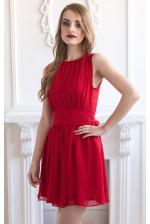 Шифоновое коктейльное платье красное