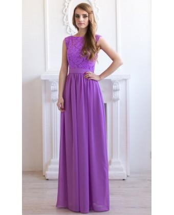 Вечернее сиреневое платье с кружевом