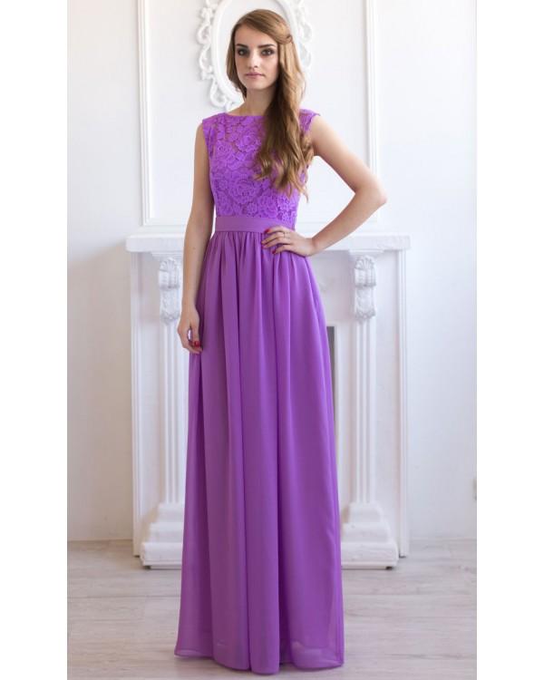 Платье сиреневое в пол купить в
