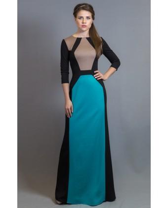 Платье в пол трикотажное с длинным рукавом