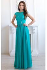 Бирюзовое выпускное платье