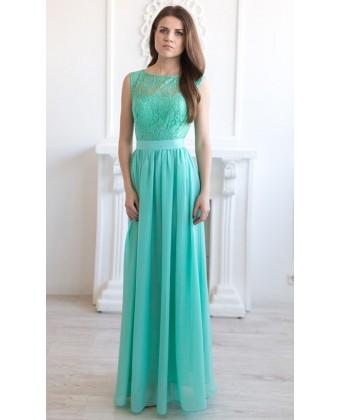 Вечернее платье с кружевным верхом