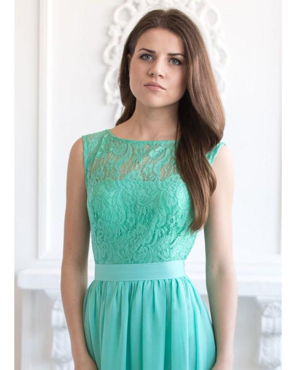 Бирюзовые платья с кружевами
