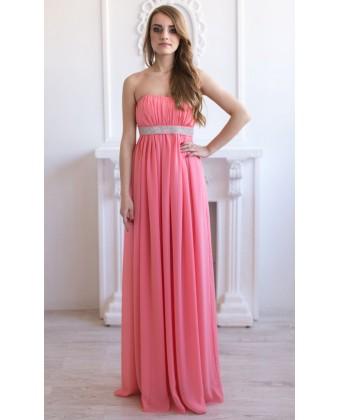 Персиковое выпускное платье