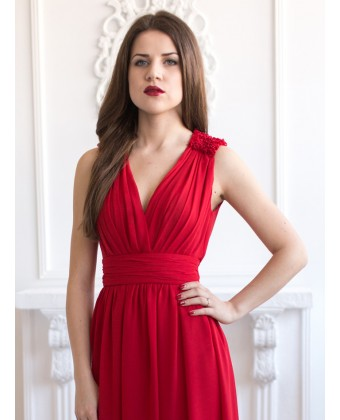 Шифоновое платье на запах с рюшами