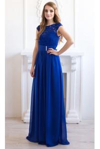 Синее выпускное платье