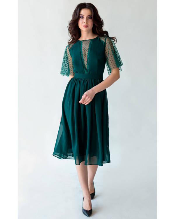 e7b7c39c191 Изумрудное коктейльное платье с красивым декольте купить в интернет ...