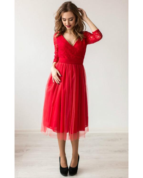 41dee7b2bd7 Коктейльное платье миди красное купить в интернет-магазине Роял ...