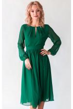Коктейльное платье с длинным рукавом изумруд