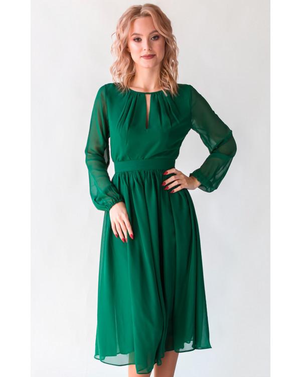 54fa3597a3a3de Коктейльное платье с длинным рукавом изумруд купить в интернет ...
