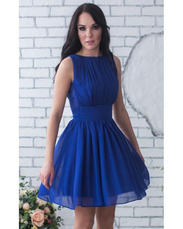 280c9b32b0985b Короткое синее платье купить в интернет-магазине Роял-бутик ...
