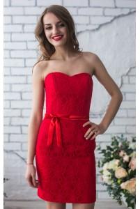 Красное коктейльное платье на корсете