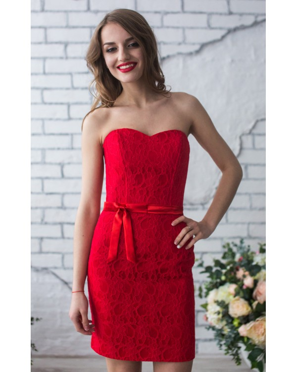 d6fa8f1e4e7cc1b Красное коктейльное платье на корсете купить в интернет-магазине ...