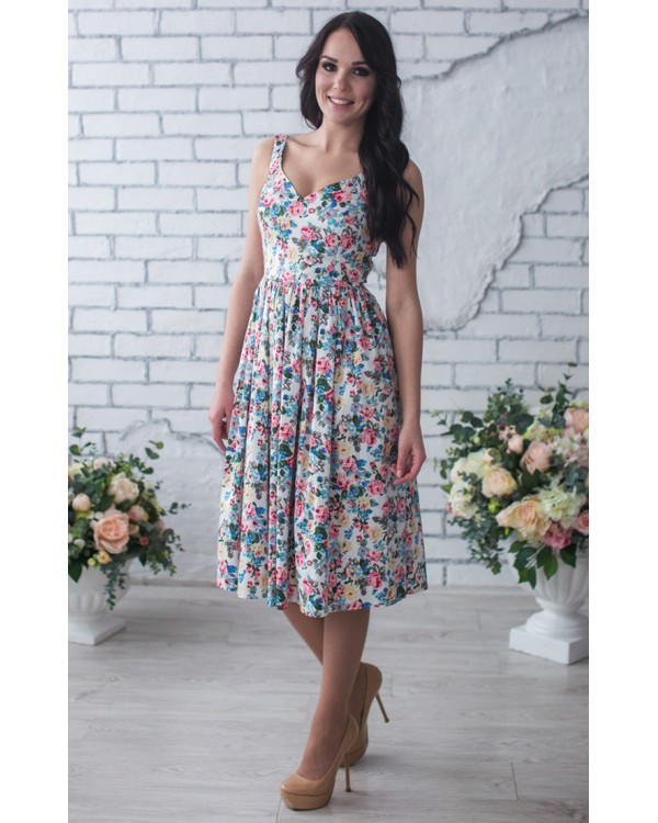 afd3c73283543ee Летнее платье миди в цветочек купить в интернет-магазине Роял-бутик ...