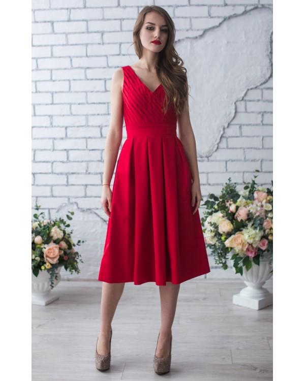 c0ccf8b9b99c60 Красное платье миди купить в интернет-магазине Роял-бутик ...