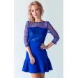 Синее коктейльное платье с вышивкой пайетками