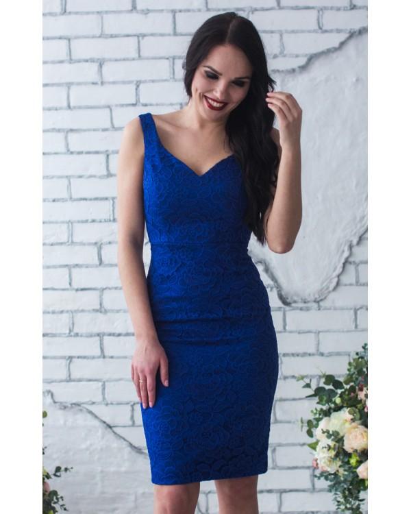 982735008e5381 Синее платье футляр купить в интернет-магазине Роял-бутик ...