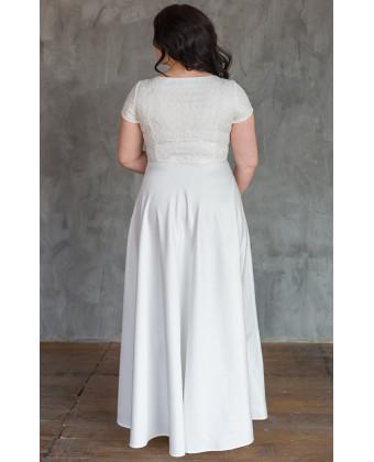 Элегантное свадебное платье с вышивкой size+