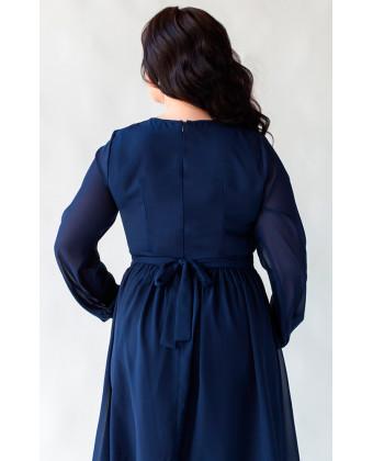 Коктейльное платье на боьшую грудь синее