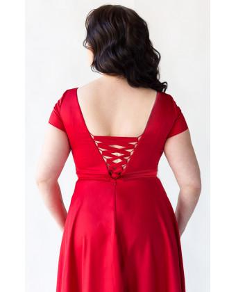 Красное вечернее платье для большой груди