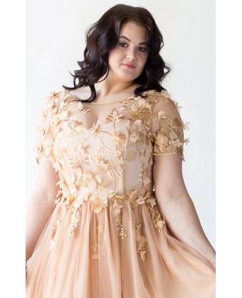Платье золотое на корсете с цветами
