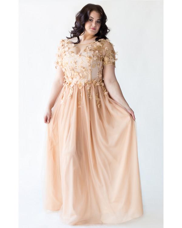 04fe8664146 Платье золотое на корсете с цветами купить в интернет-магазине Роял ...